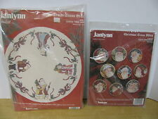 2 Janlynn Christmas Cross Stitch Kit 9 Santa Ornaments & Tree Skirt 44 Inch