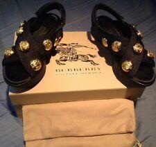 Burberry Women's Actionshire Sandals Size 40 EU Size 10 US Gold Button Sandal