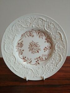 Vintage Wedgwood Etruria Patrician Embossed Side Plate Dish Pottery White/Brown
