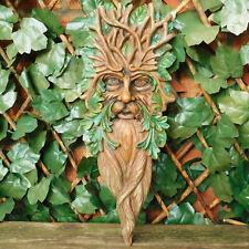 Long/Tall Brown Bearded Green Man Plaque Outdoor Garden Wall Art Decor