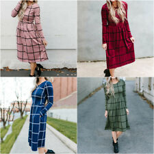 Women Plaid Round Neck Long Sleeve Midi Dress A line Flare Dresses With Pockets