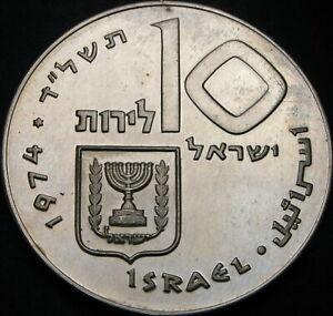 ISRAEL 10 Lirot 1974 - Silver - Pidyon Haben - aUNC - 2462 ¤
