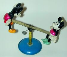 Mickey Mouse & Minnie Celluloid Figures On Tin See-Saw Wind-up 1930s Japan