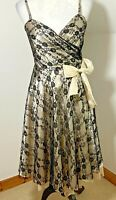 New Look Fit & Flare Size 12 Bow Dress Black & Cream Lace Strapless Knee Length