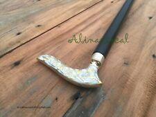 Vintage Designer wHITE Handle Antique Style Wooden Walking Stick Nautical Cane