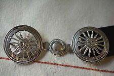 Pinto Signed Silver Plate Filigree Sun Face Buckle with Leather Belt