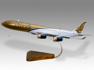 Airbus A340-300 Gulf Air Solid Kiln Dry Mahogany Wood Handcrafted Desktop Model