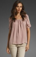 Joie 100% SILK Eleanor Pleated Blouse Top Bow Back Mauve Pink Size XS *FLAWED*