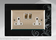 Double Electric Plug Socket Surround, Finger Plate, Ivy - FREE UK POST