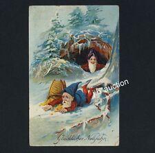 Neujahr ZWERGE / DWARFS New Year * Präge-Litho um 1910 / Embossed Lithography