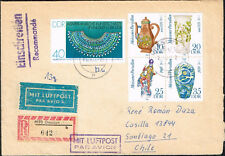 1228 GERMANY DDR TO CHILE REGISTERED AIR MAIL COVER 1982 DRESDEN - SANTIAGO