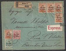 Dalmatia covers 1919 R-Expresscover Bozen to Riva