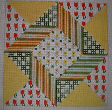 """Vintage Petei Hand Painted HP Needlepoint Canvas ~ Patchwork Quilt ~ 8""""x8"""""""