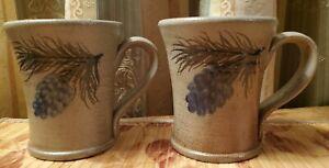 2x ROWE POTTERY WORKS 2001 SALT GLAZED PINECONE COFFEE CUP MUG STONEWARE