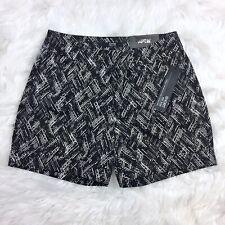 Apt 9 Women's Black Print Mid Rise Straight Cuffed Shorts Size 2