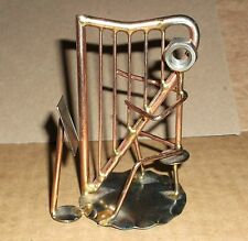 Scrap Art Metal Sculpture Playing Harp Nuts Bolts Copper Color Gentle Use Usa