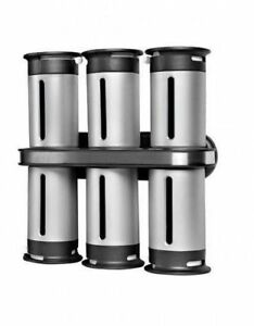 Zero Gravity Wall Mounted Magnetic Spice Rack with 6 Containers Self-adhesive