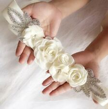 Bridal Ivory Flower Sash Wedding Dress Belt Maternity Sash Evening Dress Belt