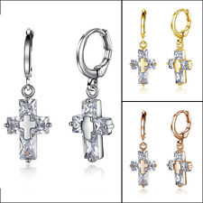 Statement Womens Rose/Yellow Gold Filled Cross Crystal Silver Dangle Earrings