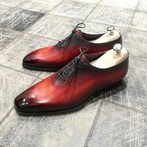 Handmade Men's Genuine Red Leather Whole Cut Oxford Lace up Shoes