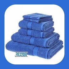 6PC Laura Secret Liso Toalla Juego Suave 100% Algodón Calidad Real Azul