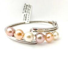 IPEARLS Pastel Freshwater Cultured Pearls SS Bangle Bracelet NWT 249.90 RET