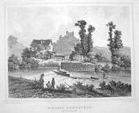 GERMANY Landsberg Castle near Meiningen - 1860 Antique Engraving Print