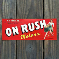 Vintage Original ON RUSH MELONS Sexy Pinup Fruit Crate Box Label 1940s NOS
