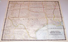 Old Map 1947 Oklahoma Texas Louisiana Arkansas South Central United States US