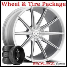 """22"""" BLAQUE DIAMOND BD11 CONCAVE SILVER WHEELS AND TIRES FITS BENTLEY CONTINENTAL"""