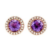 NEW 14k Rose Gold 1.56ctw Round Amethyst Stud Earrings w/ Diamond Pave Halos