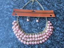 Venetti gold plated necklace earring set 18 inch metal chain pink circle stone