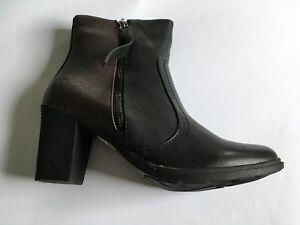 Womens Heavenly Feet Haze Black / Burgundy Heeled Boots Zip Faux Leather Ankle
