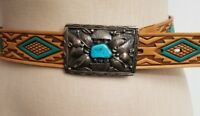 """Vintage Signed Navajo Native American Silver Turquoise Belt Buckle 3"""" x 2"""""""