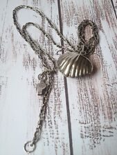 Taxco + Jimmy Herald Chain Sterling Silver Shell Bell Pendant Mexico