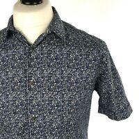 Marks & Spencer Autograph Mens Shirt Medium Casual Short Sleeve Blue White Black