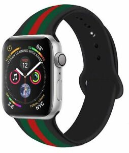 New Apple Watch Silicon Band Blk Red green Design Strap bracelet 38-40mm 42-44mm