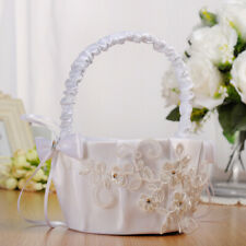 Simple Elegant Satin Wedding Flower Girl Basket, 7.09 x 8.66 inch