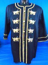Bob Mackie Wearable Art Black Elephant Print Jacket 2Xl