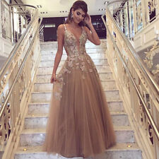 Champagne V Neck Formal Evening Prom Dress Party Gown Bridesmaid Lace Sleeveless