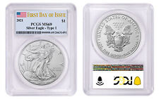 2021 $1 American Silver Eagle 1oz Dollar Type 1 PCGS MS69 First Day of Issue