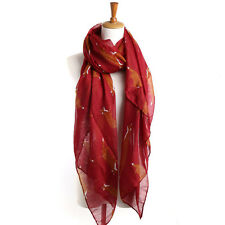 FOX Print Scarf Red Scarves Large Shawl Wrap Chiffon Orange Long Hijab