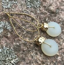 Min Favorit Opal Recycled Sea Glass Drop & Hammered Gold Pl Artisan Earrings
