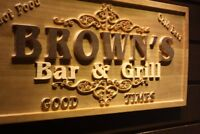 wpa0071 Name Personalized Bar & Grill Good Times Beer Wine Wooden Sign