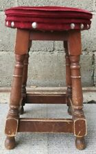 Vintage Solid Wooden Round Stool / Low Bar Stool