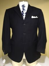 MENS ANDREW FEZZA BLUE 3 BUTTON DOUBLE VENT PINSTRIPE SUIT SZ 44R