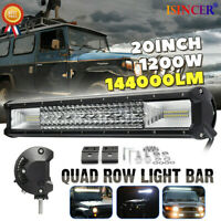 20'' Inch Quad-row LED Work Light Bar Combo Offroad Driving Lamp Trucks Boat EW