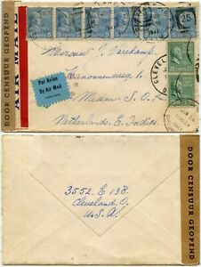 USA to MEDAN NEI EAST INDIES WW2 CENSORED AIRMAIL RETURNED FOR EXTRA FRANKING