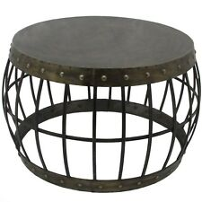 LARGE INDUSTRIAL COFFEE SIDE WINE TABLE DRUM METAL ELEMENTAL OCCASIONAL STAND