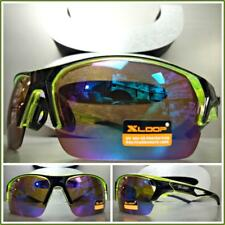 ad570c7d21d8 New Mens WRAP AROUND SPORTY CYCLING FISHING HUNTING SUN GLASSES Neon Green  Frame